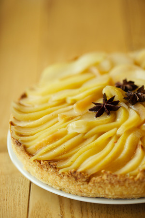 confiserie: Pear tart with anise closeup Stock Photo