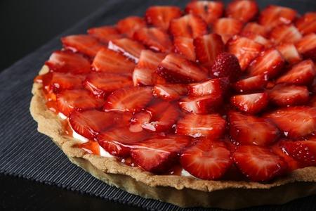 confiserie: Fresh strawberry cake closeup photo
