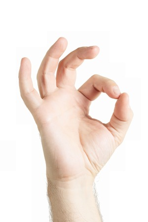 allright: Human hand gesture isolated.  All right. OK sign. Stock Photo