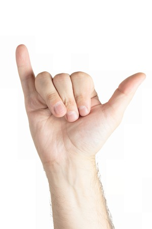 hang body: Human hand gesture isolated. Shaka sign.