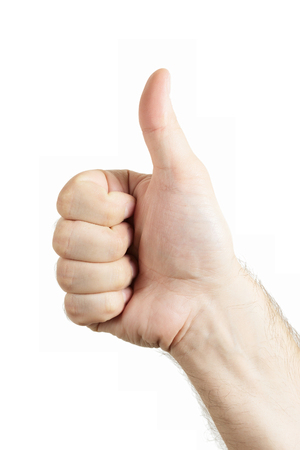 allright: Human hand gesture isolated. Thumbs up sign.