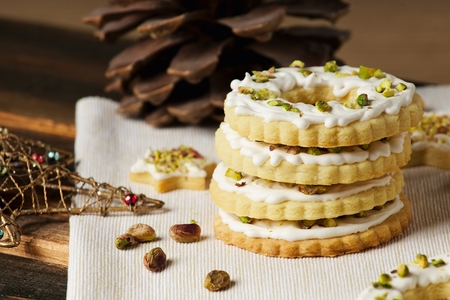 Ring cookies in decorated christmas still life closeup