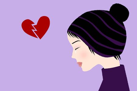 upset woman: Broken heart - Illustration of a sad crying girl with a broken heart Illustration