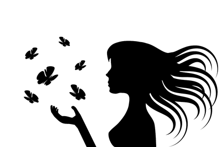 Illustration of the silhouettes of a girl with long hairs and some butterflies Vector