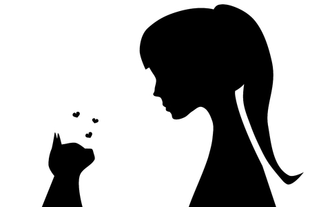looking: Illustration of the silhouettes of a girl with a cat