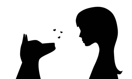 black dog: Illustration of the silhouettes of a girl with a dog