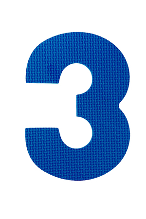3 número de tres dígitos aislados sobre fondo blanco Foto de archivo - 24087319