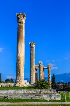 ruins of ancient temple of Zeus, Athens, Greece, light HDR Stock Photo