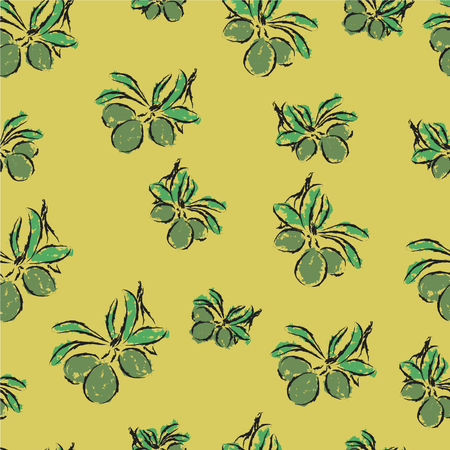 vector pattern with green olive branches on olive color background Vector