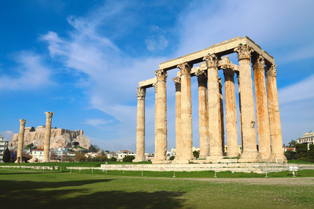 olympian: ruins of ancient temple of Zeus in Athens, Greece