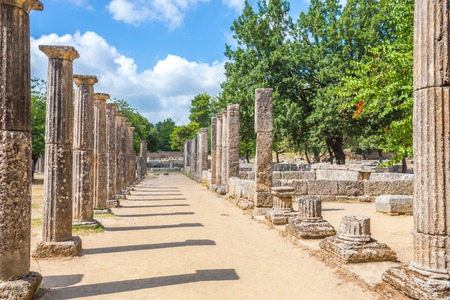 ruins in Ancient Olympia, Peloponnes, Greece Stock Photo