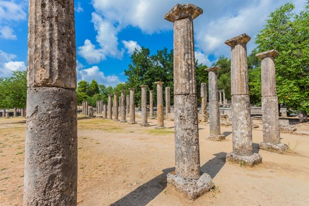 peloponnes: ruins in Ancient Olympia, Peloponnes, Greece Stock Photo