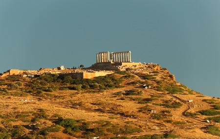 The ruins of temple in Cape Sounio, Attica, Greece photo