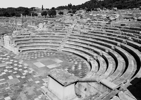 messenia: ruins in ancient city,  black and white photo