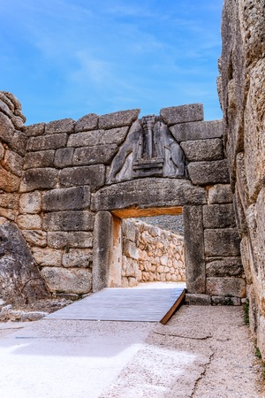 peloponnise: The Lion Gate at Mycenae, Argolidam Greece. Travel