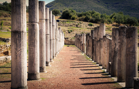 messenia: ruins in ancient city of Messina, Greece Stock Photo