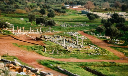 messenia: Top view of ancient ruins in Messina, Greece