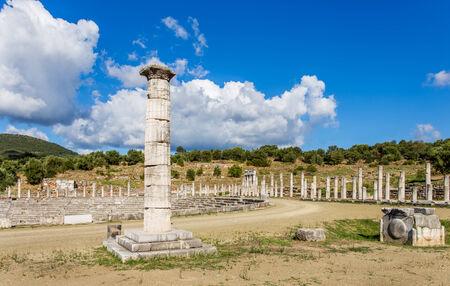 peloponnes: honor column in Ancient Messina, Peloponnes, Greece