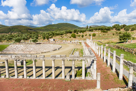 messenia: collonade of gymnasium in Ancient Messina, Peloponnes, Messenia, Greece