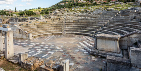 peloponnes: ruins of theater in Ancient Messinia, Peloponnes, Greece Stock Photo