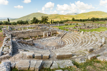 ruins of theater in Ancient city of Messinia, Peloponnes, Messenia, Greece