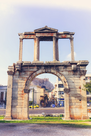 hadrian: Vintage Arch of Hadrian in Athens, Greece Stock Photo