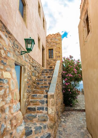 peloponnes: paved street of medieval Monemvasia, Peloponnes, Greece Stock Photo