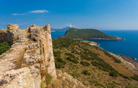 peloponnes: sea view from Paleokastro wall, Peloponnes, Greece Stock Photo