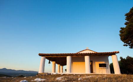 messenia: church of Prophet Ilias during sunset, Greece