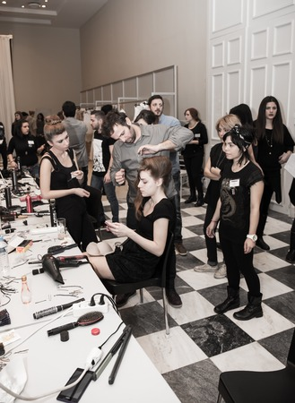 Make up, Nackstage, Fashion show, Zappion, Athens, Greece, 11 January 2015