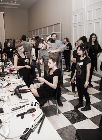 Make up, Nackstage, Fashion show, Zappion, Athens, Greece, 11 January 2015