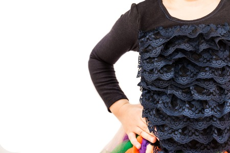 ruche: Part of kid black blouse with ruche