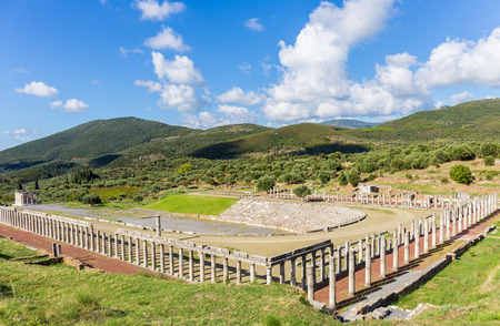 classical greece: ruins of stadium and gymnasium in Ancient Messina