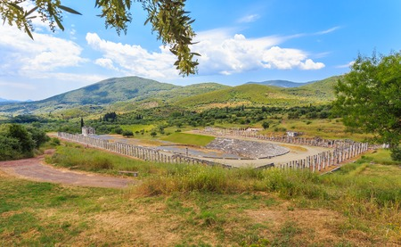 messenia: distant view on antique stadium in Ancient Messina