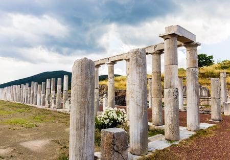 messenia: collonade of gymnasium in Ancient Messina Editorial