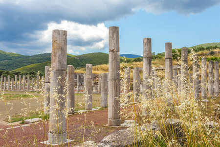 messenia: collonade of gymnasium in Ancient Messina, Peloponnes, Greece