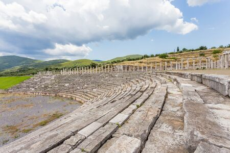 messenia: tribunes of antique stadium in Ancient Messina, Peloponnese, Messenia, Greece