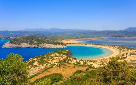 messinia: Beautiful lagoon of Voidokilia from a high point of view, Messenia, Greece Stock Photo