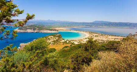 messenia: Beautiful lagoon of Voidokilia from a high point of view, Messenia, Greece Stock Photo