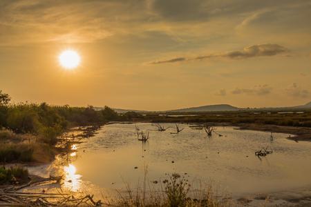 messenia: beautiful sunset lake, Messenia, Greece