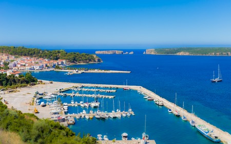 messinia: view on city of Pylos and Navarino bay, Messenia, Greece Stock Photo