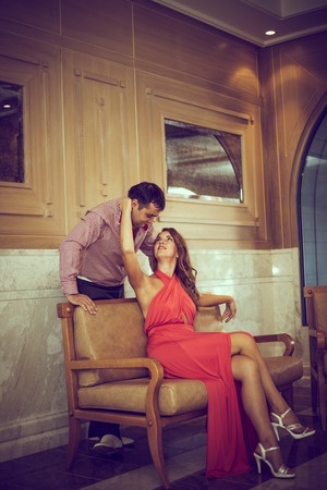 enamored: enamored man and woman posing in different places Stock Photo