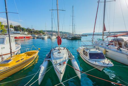 peloponnes: sailing boats in marina of Pylos, Peloponnes, Greece
