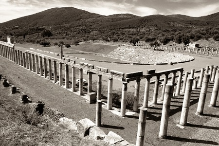 peloponnes: stadium in the city of Ancient Messina, Peloponnes, Greece, black and white photo Stock Photo