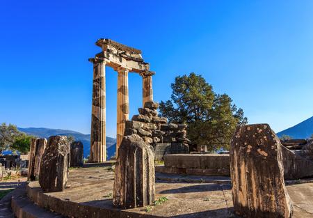 delphi: ruins Athina Pronaia temple in Ancient Delphi, Greece Stock Photo