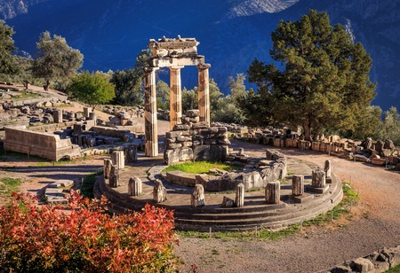 historical sites: ruins Athina Pronaia temple in Ancient Delphi, Greece Stock Photo
