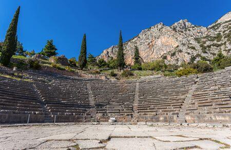 delphi: ruins of ancient theater in Delphi, Greece