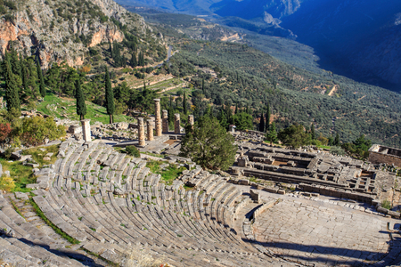 delfi: ruins of ancient theater in Delphi, Greece