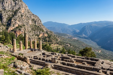 ruins of Apollo temple in Ancient Delphi, Greece