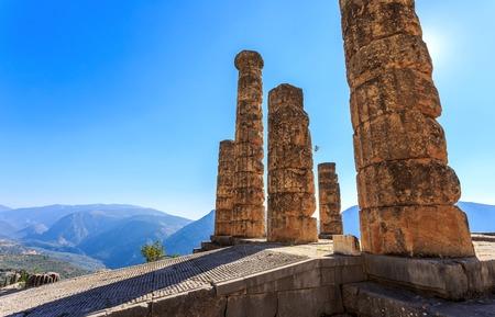delfi: ruins of Apollo temple in Ancient Delphi, Greece